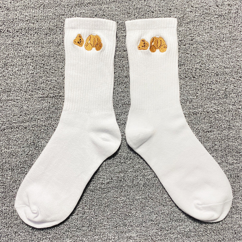 Tide PALM Angels Decapitated Palm Angel Bear Embroidered Cotton Socks Spring And Summer Stockings