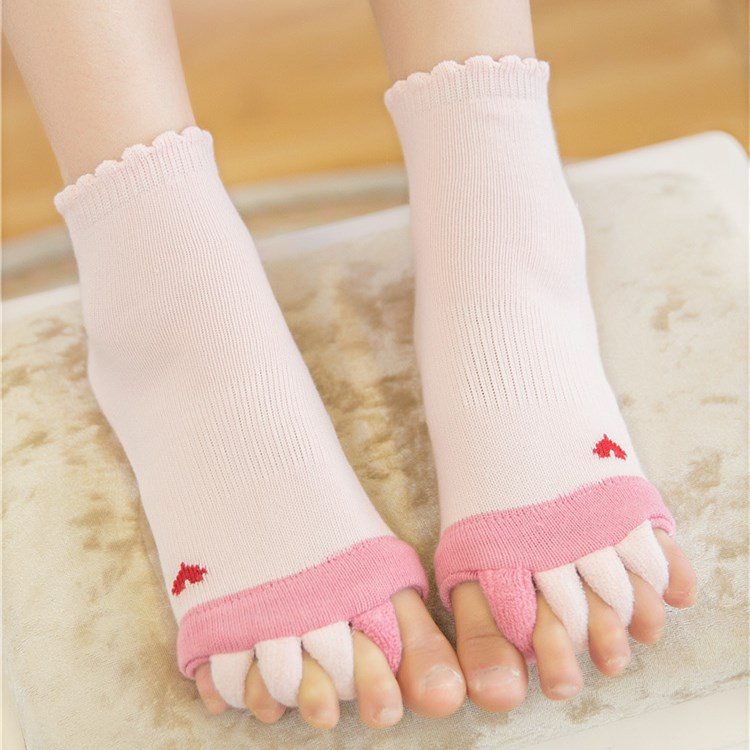 Love Patterned Foot Alignment Socks Open Toe Massage Socks for Crooked Toes Hammer Toes
