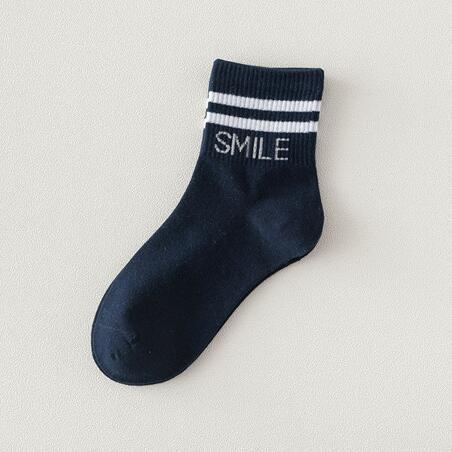 Winter Lady Adult Smile Letter Parallel Bars College Wind Striped Cotton Socks In Tube Socks Wholesale Men