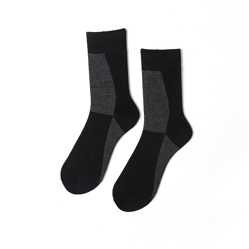 JUJUMU Black And Gray Stitching Dark Colors Partial Business Streets Of The Neutral Wind Men And Women Couple Models Cotton Socks