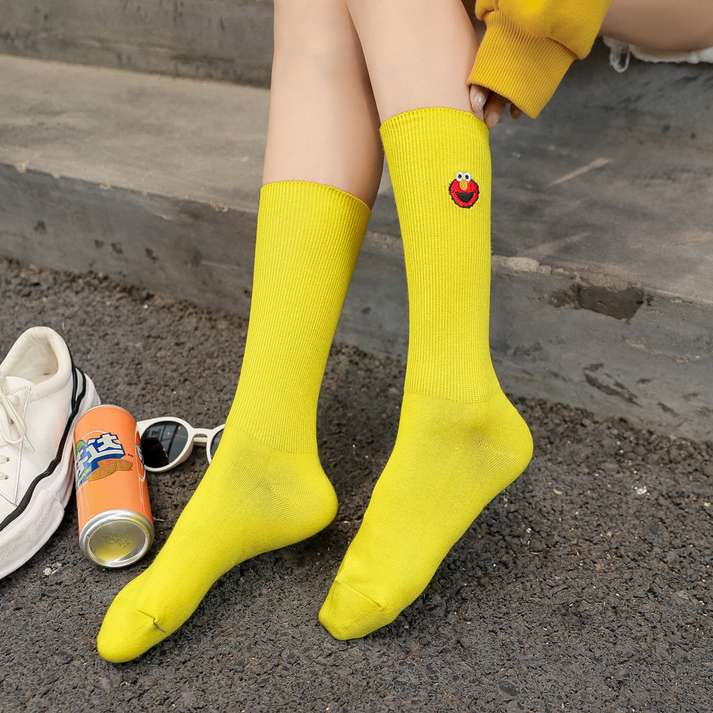 Fine Embroidery Bars Slouch Socks Solid Cotton Socks