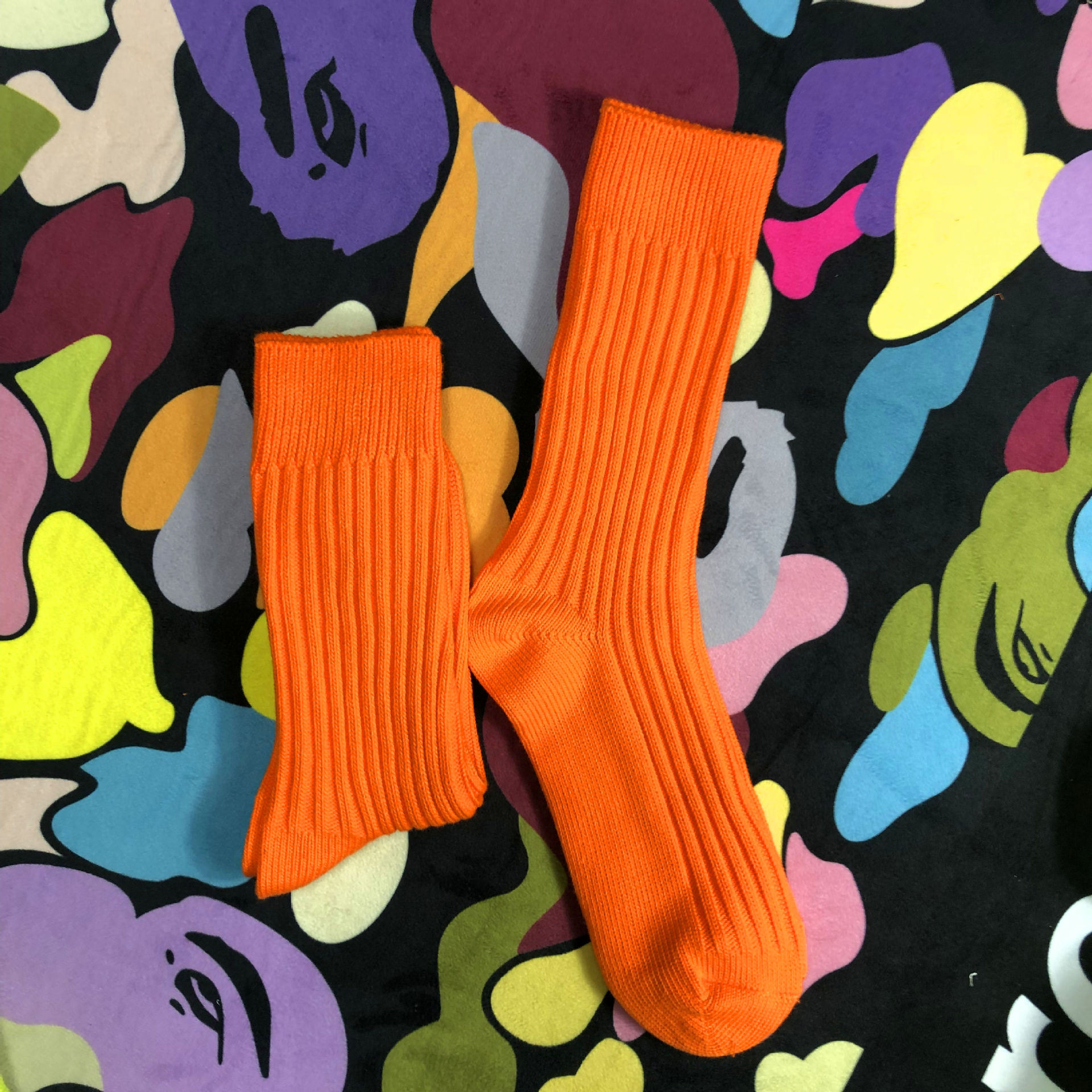 Pure Madness Tide Brand Fall And Winter Fashion Wind Cotton Socks Port Shawn Fluorescent Green Socks Male Wild