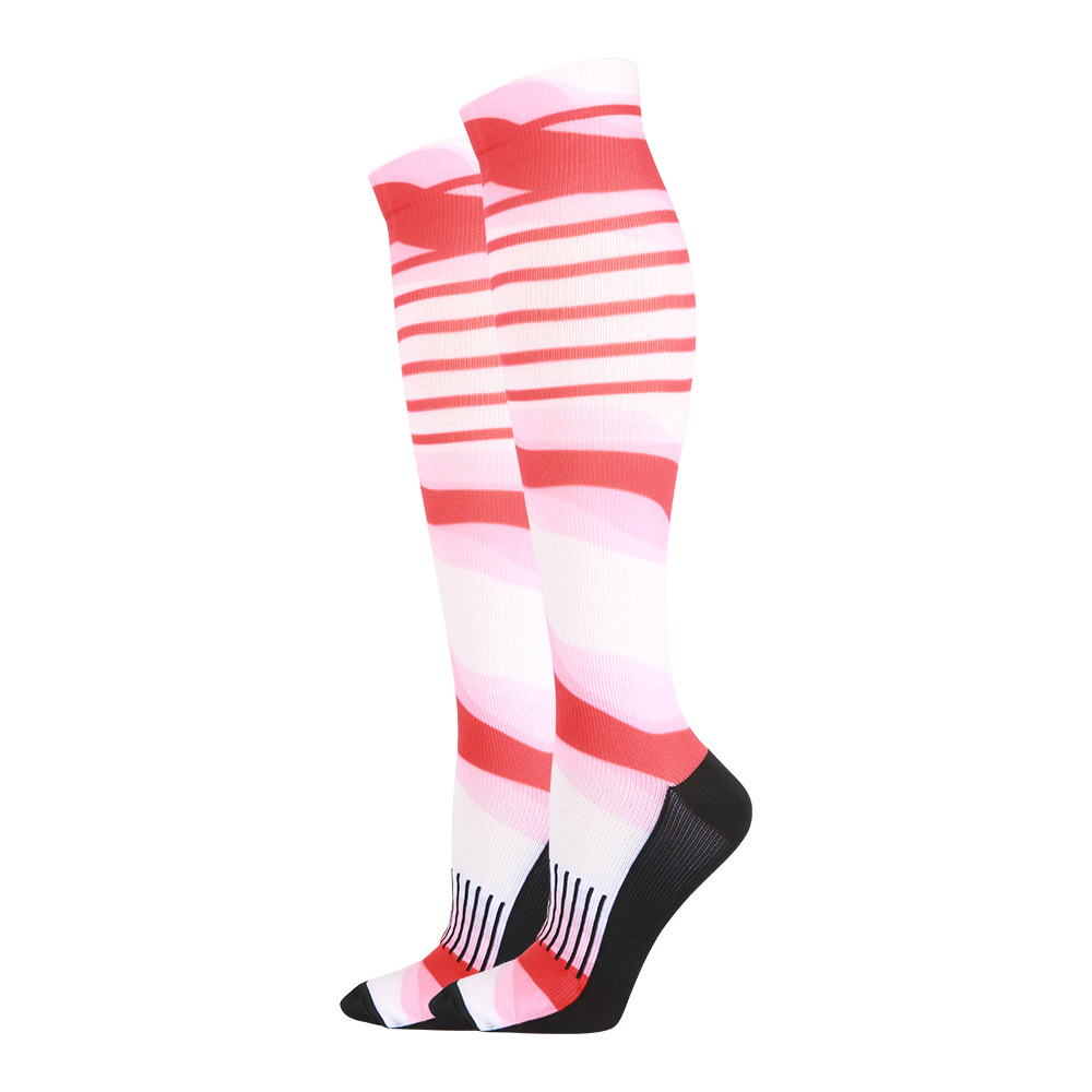 200N Printing Compression Stockings Long-barreled Running Quick Dry Sports Compression Socks for Travel Flight