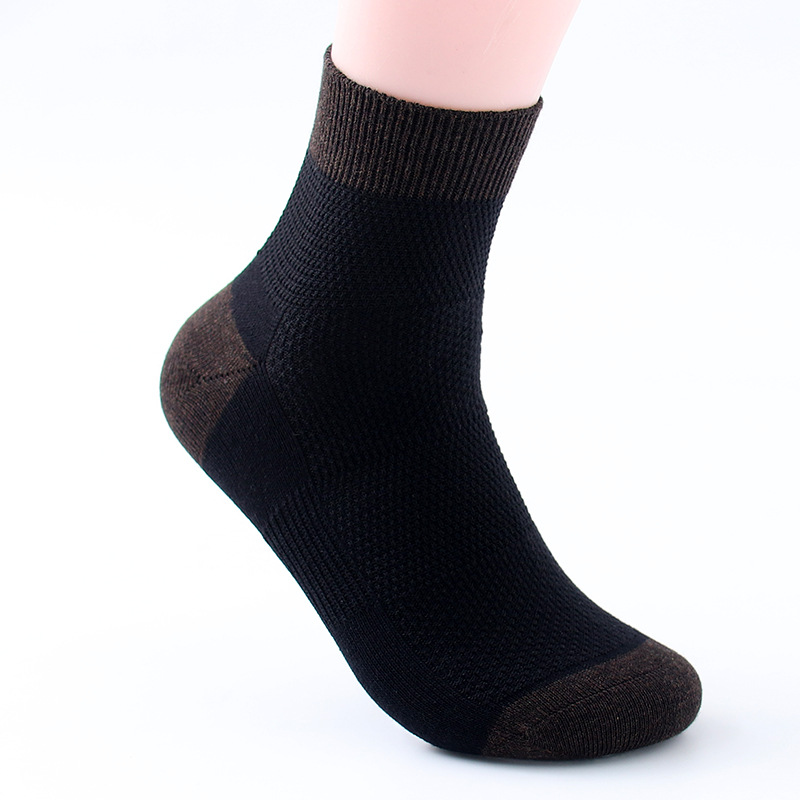 Business Socks Breathable Absorbent Cotton Socks Male Wild Solid Color Mesh Socks Wholesale Business
