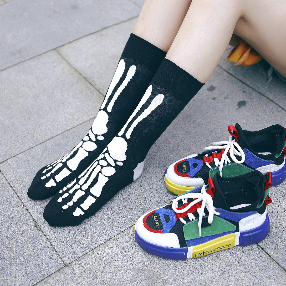 2020 Autumn And Winter Fashion Personality Men And Women In Tube Socks Socks Tide Colorful Ghost Bat Series