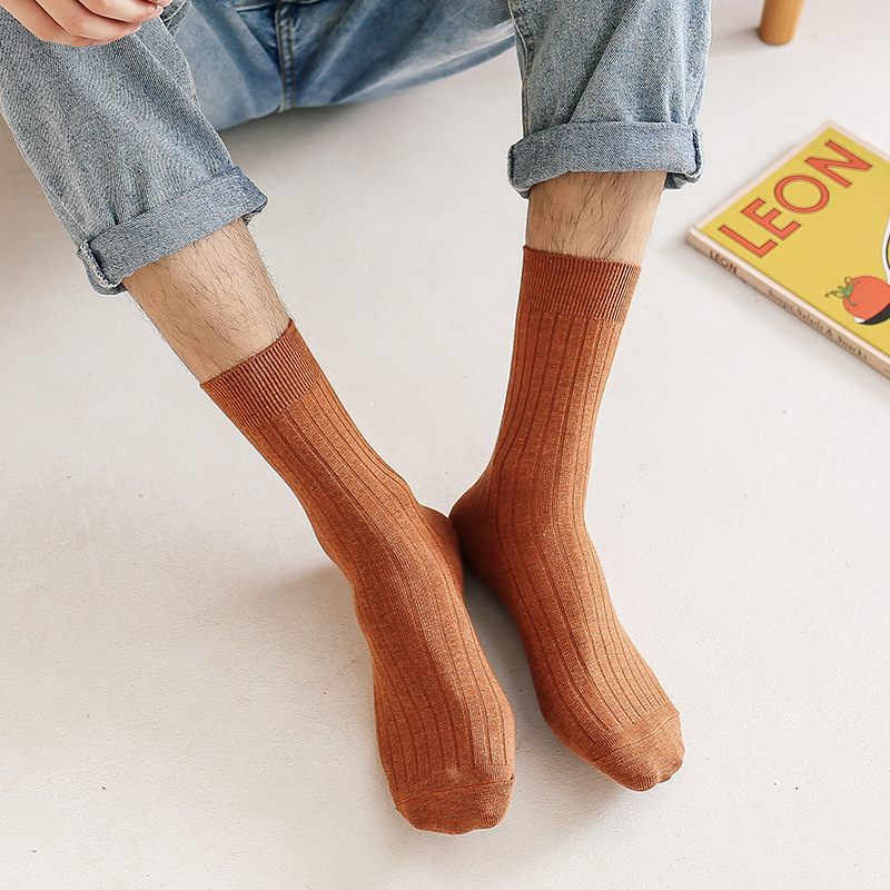 Autumn And Winter Socks Male Solid Color Business Sock Men In Tube Dress Socks Cotton Crew Socks Wholesale