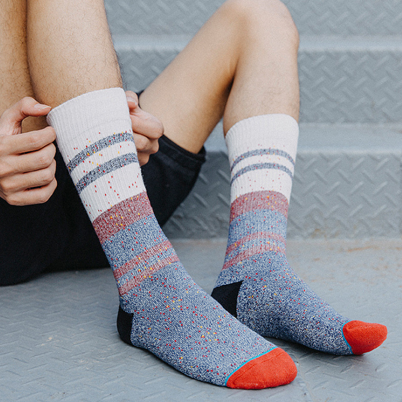 Male Cotton Socks Autumn And Winter Thick Square Foot In Tube Socks For Men In Large Size Stripe Ideas Yarn Terry Socks Wholesale